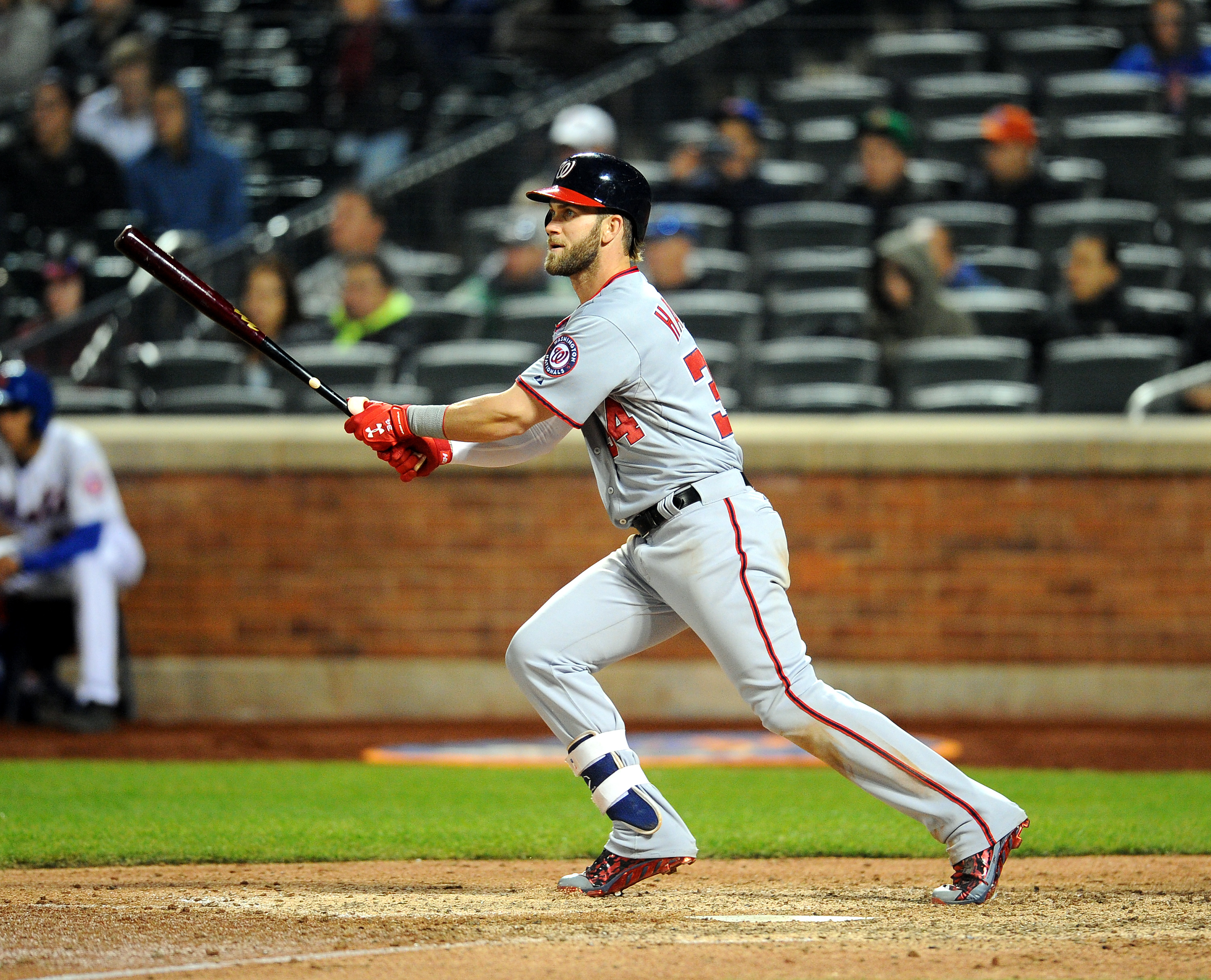04/30/15  Washington Nationals vs New York Mets  at  Citifield  ,Queens   N.Y.     Washington Nationals  lead   8-2   during  the  9th  inning  Washington Nationals right fielder Bryce Harper #34 hits a   3 rbi  double in the  9th  inning  photos  by  Sportsdaywire