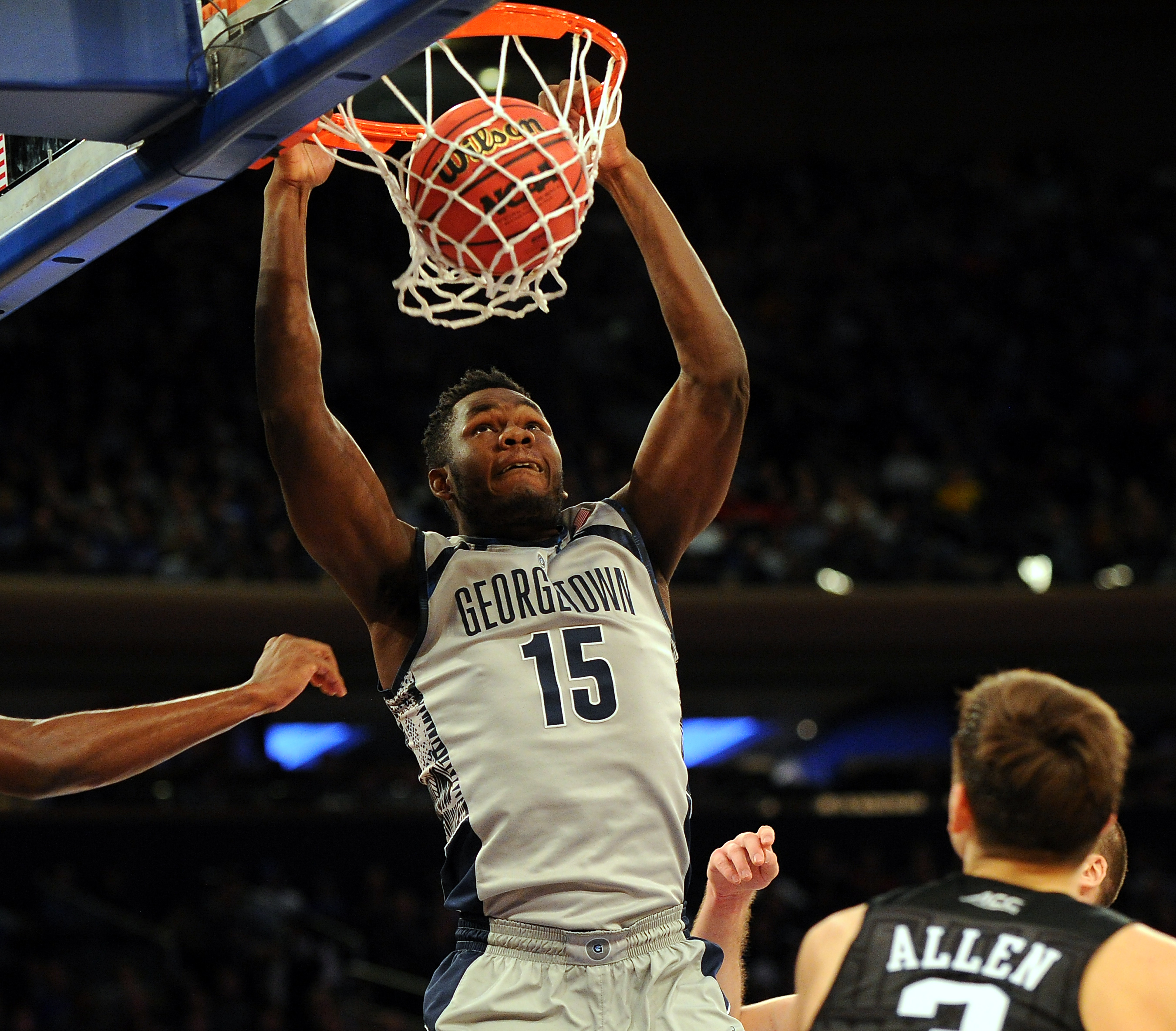 11/22/15 Duke Blue Devils  vs  Georgetown Hoyas  at msg N.Y.C. N.Y.Duke Blue Devils   win   86-84  today   Georgetown Hoyas center Jessie Govan #15  makes a  dunk   in the 2nd  half today photos  by  sportsdaywire