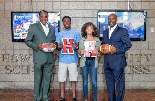 The NFL and Howard University have partnered to launch the Campus Connection program. Pictured L to R: Howard University School of Business Dean Baron Harvey, Ph.D., Ninuola Onatemowo, a senior accounting student from Lagos, Nigeria; Cierra Wells, a senior international business student from Montgomery County, Md., and Associate Dean Anthony D. Wilbon, Ph.D. (PRNewsfoto/Howard University)